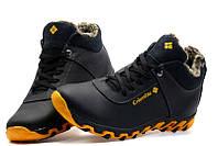 Columbia Black - кожаные зимние ботинки на меху