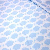 Ткань хлопковая с голубыми звездами и облаками №380