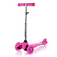 Самокат трехколесный ScooTer  Mini (розовый) со светящимися колесами
