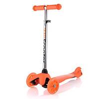 Самокат трехколесный ScooTer  Mini (оранжевый) со светящимися колесами