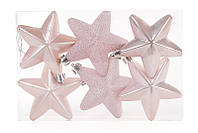 Набор елочных украшений Звезды розовый, 6 шт