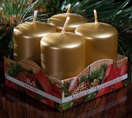 Свеча золотая лакированная 4х9 см 4шт.