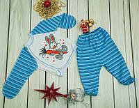 Комплект ясельный для малышей из 2 предметов  (ползуны, распашонка) голубой  49/56 см