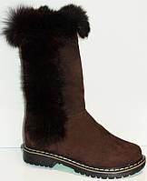 Сапоги зимние коричневые нубуковые для девочки на термополиэстеровой подошве с молнией с подкладкой из шерсти