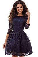 Шикарное вечернее  пышное платье с фатиновым подъюбником темно-синее