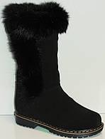 Сапоги зимние чёрные замшевые для девочки на термополиэстеровой подошве с молнией с подкладкой из шерсти