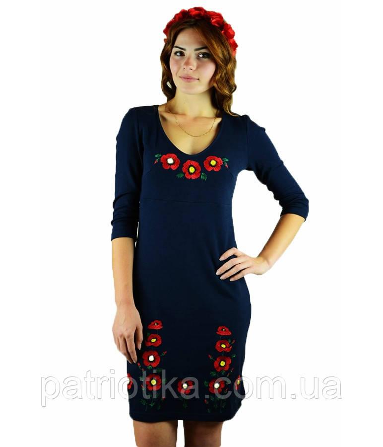 Вышитое платье гладью «Маки 3D» М-1025-1   Вишите плаття гладдю «Маки 3D» М-1025-1