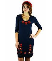Вышитое платье гладью «Маки 3D» М-1025-1 | Вишите плаття гладдю «Маки 3D» М-1025-1, фото 1