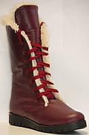 Ботинки зимние бордовые кожаные ортопедические для девочки на термополиэстеровой подошве с молнией и шнурками
