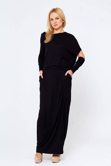 Оригинальное длинное платье Соледад черное