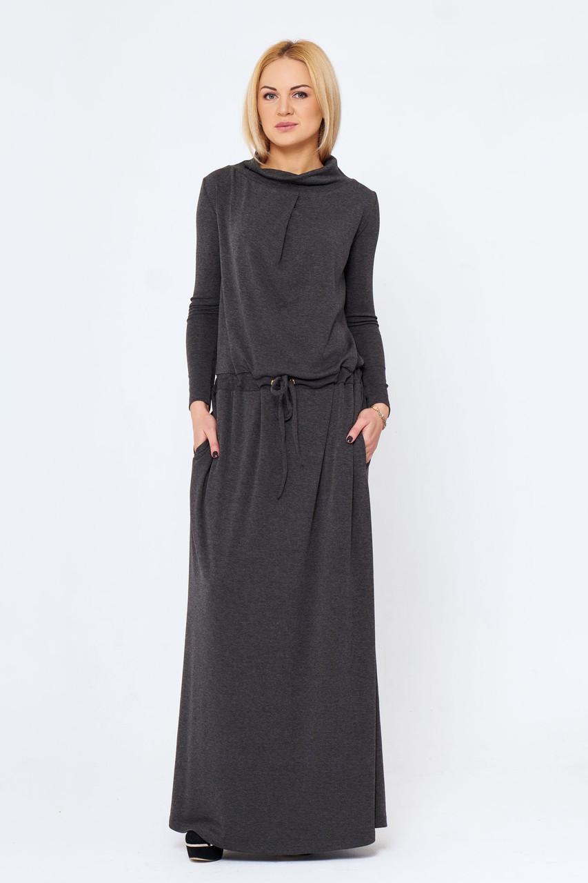 Длинное платье с карманами Имма серое