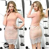 Женское платье из ангоры персикового цвета с длинным рукавом. Модель 12492.