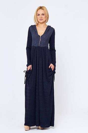 Стильное длинное теплое платье Росита