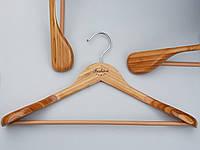Плечики вешалки тремпеля деревянные бамбуковые широкие Fashion  с антискользящей перекладиной, длина 45 см, фото 1