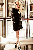 Нарядная Туника-Платье с Оригинальными Рукавами Черная S-3XL