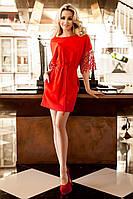 Нарядная Туника-Платье с Оригинальными Рукавами Красная S-3XL