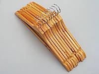 Плечики вешалки тремпеля  деревянные  светлые ровные, длина 44 см, в упаковке 10 штук
