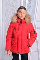 Детская зимняя куртка на мальчика подростка красная, р.152,158,164