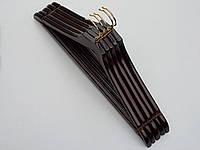 Плечики вешалки тремпеля деревянные цвета  вишни с антискользящей перекладиной, длина 45 см, в упаковке 5 шт