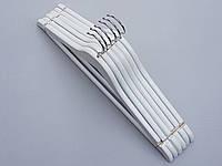 Плечики вешалки тремпеля деревянные белого цвета, длина 45 см, в упаковке 6 штук