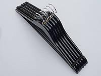 Плечики  вешалки тремпеля деревянные черного цвета, длина 45 см,в упаковке 6 штук, фото 1