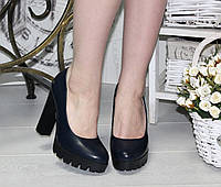 Женсике синие туфли, толстый  каблук 11.5 см, эко кожа  / туфли для девочек, модные
