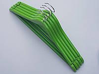Плечики вешалки тремпеля деревянные зеленого цвета, длина 45 см, в упаковке 5 штук