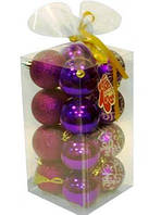 Набор новогодних шаров 16 шт фиолетовые Angel Gifts