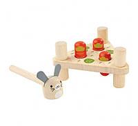 """Деревянная игрушка """"Забивалка с колышками и молотком - кролик"""", PlanToys"""