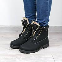 Ботильоны ботинки женские Balmain Black Мех  Зима