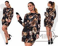 """Элегантное женское короткое платье в больших размерах 356 """"Отто Фрески Цветы"""""""
