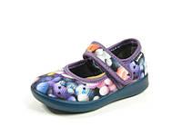 Детские теплые комнатные тапочки-туфельки из велюра и фетра р.20-25 для девочек тепленькие с кожаной стелькой