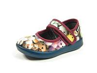 Детские теплые комнатные тапочки-туфельки из велюра и фетра р.20-26 для девочек тепленькие с кожаной стелькой