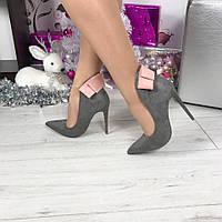 Туфли лодочки серый замш с бантом