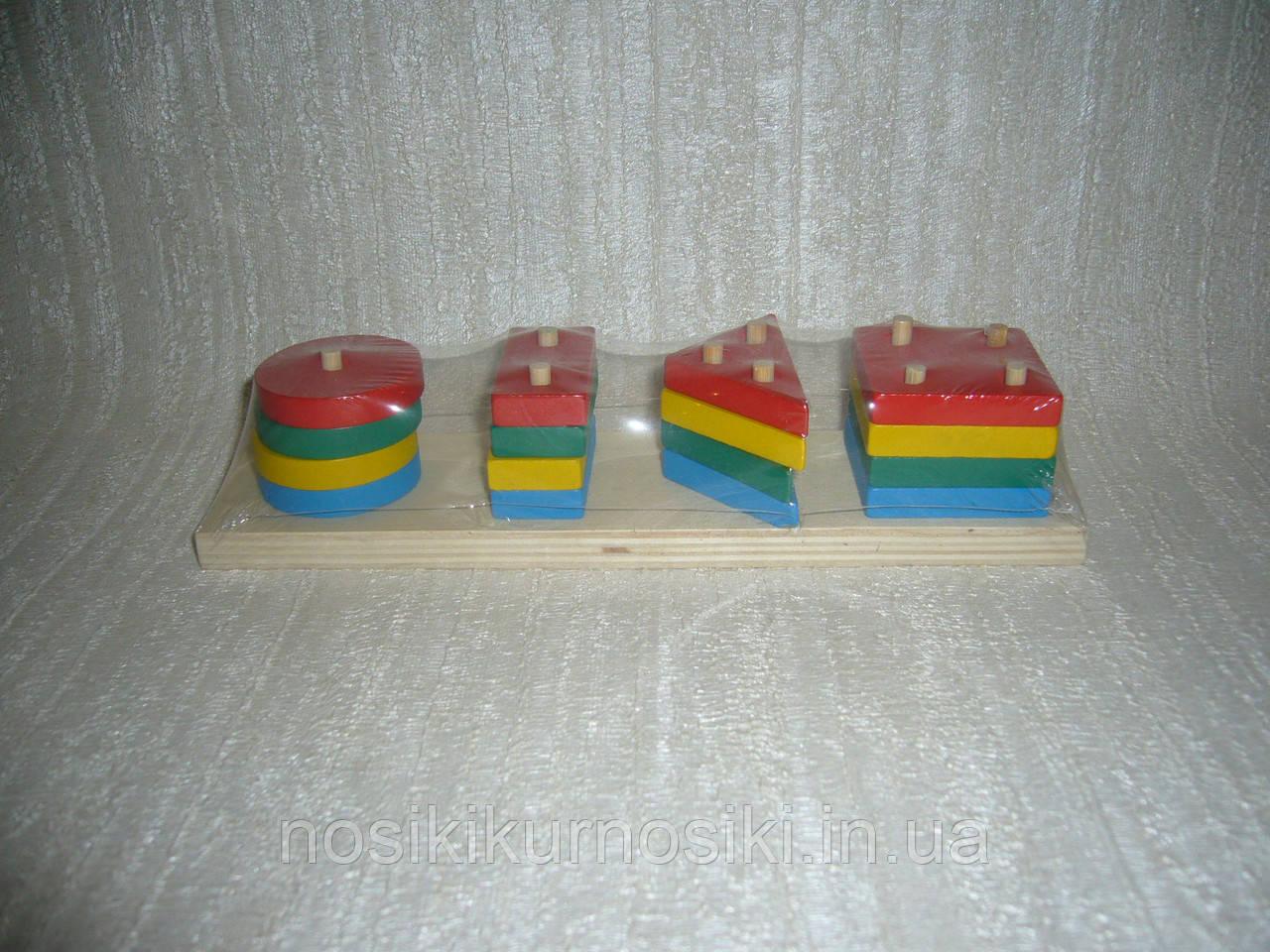 Деревянная игрушка Пирамидка геометрические формы арт 0302