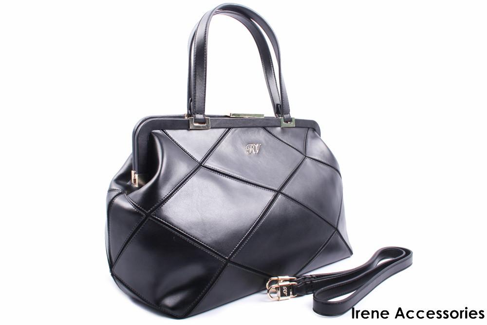 Стильная женская сумка Roger Vivier кожаная цвет черный
