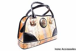 Стильная женская сумка Roberto Cavalli кожаная цвет беж