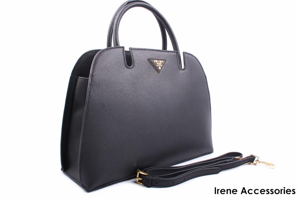 Стильная женская сумка PRADA кожаная цвет черный