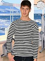 Теплая мужская футболка (тельняшка) (Белый, черный, крупная полоска)