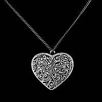 Посеребренное колье - Сердце орнамент, цепочка 70 см