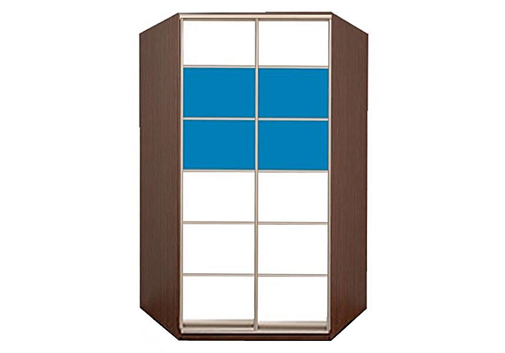Угловой шкаф купе Матролюкс + комбинированный фасад из цветных глянцевых стекол и тонированных зеркал