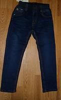 Утепленные синие джинсы на мальчика, рост 134 см