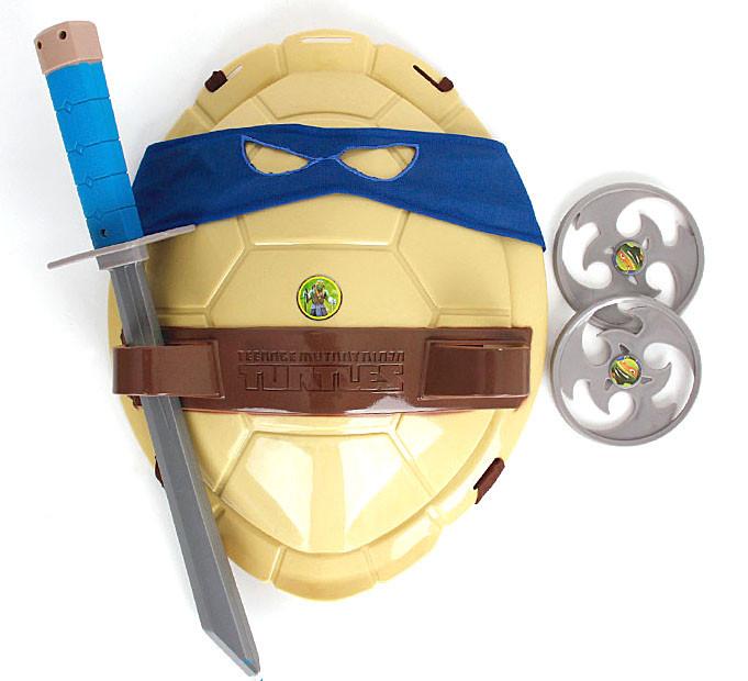 """Бойовий набір Леонардо """"Черепашки Ніндзя"""" : маска, панцир, 2 сюрикена, меч"""