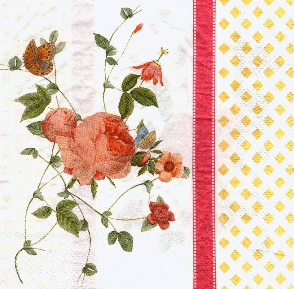 Декупажні серветки Гілка троянди і метелики 6641