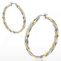 Серьги в форме круга из золотисто-стального плетения SE2700-35