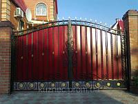 Дворовые ворота из профнастила. Ручная ковка. Гарантия на все виды работ. Возможна доставка и установка.