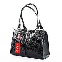 Деловой женский портфель черная сумка лаковая