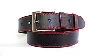 Джинсовый ремень 45 мм черный прошитый двойной красной ниткой пряжка матовая края красные