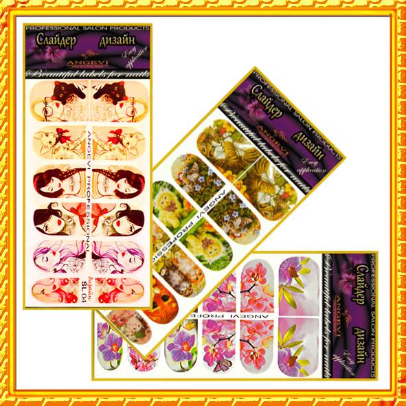 Новое Поступление Товара: Наклейки для Ногтей Ногтики PhotonailArt Водные Разноцветные, Малая Пластина, Angevi. Код 1387