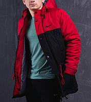 Мужская зимняя парка Nike черно-красная топ реплика